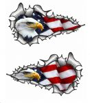 SMALL Long Pair Ripped Metal Design With American Bald Eagle & US Flag Vinyl Car Sticker 73x41mm